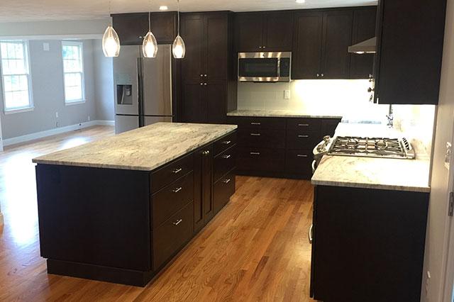 Dark Cabinet Granite Countertop Kitchen Remodel